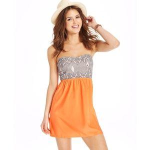 Roxy strapless savage floral print dress